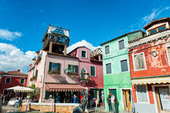 Colorful houses with drying laundry, Burano Stock Photography
