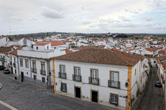 Colorful houses of Evora, Portugal Stock Photos