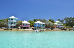 Colorful houses at Exuma, Bahamas Stock Photography