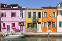 Colorful houses in the fishing village on Burano, Venice, Italy Royalty Free Stock Photos