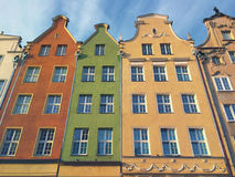 Colorful Houses of Gdansk Dluga Street Poland Royalty Free Stock Photos