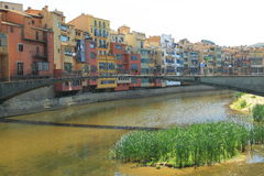 Colorful houses in Girona Royalty Free Stock Image