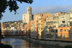Colorful houses in Girona Royalty Free Stock Photos