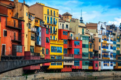 Colorful houses of Girona in Catalonia Royalty Free Stock Image