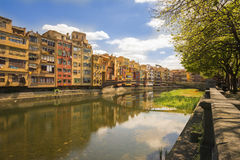 Colorful houses in Girona, Catalonia, Spain Stock Image