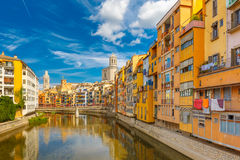 Colorful houses in Girona, Catalonia, Spain Royalty Free Stock Image