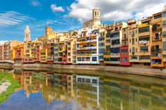 Colorful houses in Girona, Catalonia, Spain Stock Photos