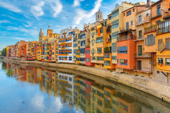 Colorful houses in Girona, Catalonia, Spain Royalty Free Stock Photography