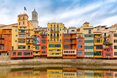 Colorful houses in Girona, Catalonia, Spain Stock Images