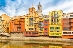 Colorful houses in Girona, Catalonia, Spain Royalty Free Stock Photo