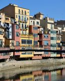Colorful houses of Girona, Spain Royalty Free Stock Photography