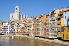 Colorful houses of Girona, Spain Stock Image