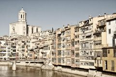 Colorful houses of Girona, Spain Royalty Free Stock Photos
