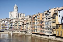 Colorful houses of Girona, Spain Stock Images