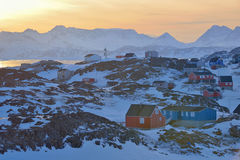 Colorful houses in Greenland. In spring time Royalty Free Stock Photo