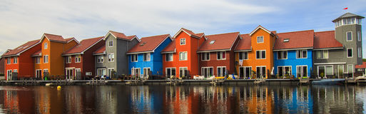Colorful houses Groningen, The Netherlands. Colorful houses in Groningen, The Netherlands at Reitdiephaven stock photo