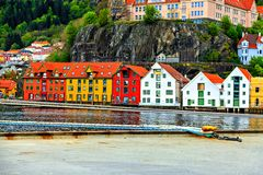 Colorful houses, harbor and mountain in Bergen, Norway Royalty Free Stock Image