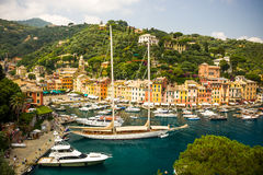 Colorful houses in the harbour. Portofino stock photography