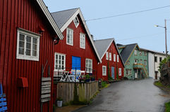 Colorful houses  in Henningsvaer Royalty Free Stock Photo