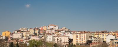 Colorful houses on a hillside in Istanbul, Turkey Royalty Free Stock Photography