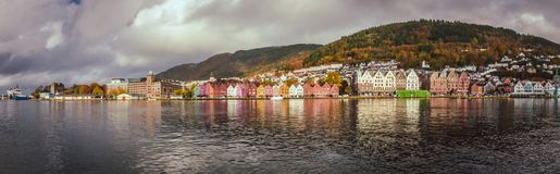 Colorful houses in the historic Bryggen in Bergen Royalty Free Stock Photos