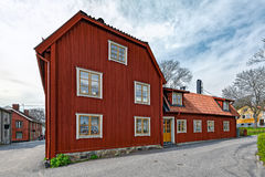 Colorful houses in the historic center of Sigtuna, Sweden Royalty Free Stock Images