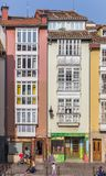 Colorful houses in the historic center of Vitoria Gasteiz stock image