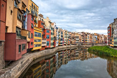 Colorful houses in historic city of Girona Stock Images
