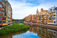 Colorful houses in historic city of Girona Royalty Free Stock Photography