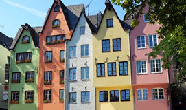 Colorful Houses. Colorful historic houses in the old city of Cologne at river rhine in germany Stock Photo