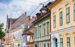 Colorful houses in the historical center of Sibiu stock images