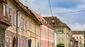 Colorful houses in the historical center of Sibiu royalty free stock photos