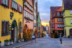 Rothenbug ob der Tauber historical Old Town, Germany. Colorful houses in historical Rothenbug ob der Tauber Old Town, Germany royalty free stock photography