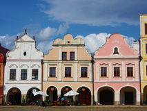 Colorful houses in the historical square in Telc Royalty Free Stock Photos