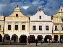 Colorful houses in the historical square in Telc Royalty Free Stock Photo