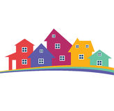 Colorful houses. Colorful holiday houses vector illustration, home image with horizon line. Touristic and real estate creative emblem, cottages front view Vector Illustration