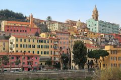 Free Colorful Houses In Old Town Of Ventimiglia, Imperia, Liguria, Italy Stock Images - 145577844