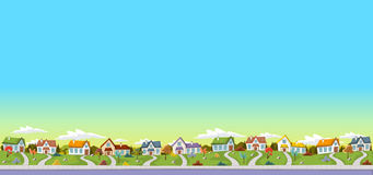 Colorful Houses In Suburb Neighborhood. Royalty Free Stock Images
