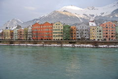 Colorful houses at the Inn Riverside in Innsbruck Austria Royalty Free Stock Image