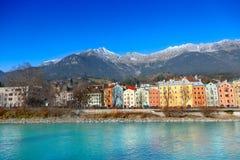 Innsbruck cityscape, Austria. Colorful houses in Innsbruck, Austria stock photography