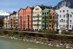 Colorful houses in Innsbruck Stock Image