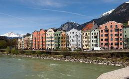 Colorful houses in Innsbruck Royalty Free Stock Photos