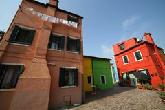 Colorful houses on the island of Burano a few miles from Venice Stock Images