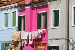 Colorful houses on the island of BURANO near Venice Royalty Free Stock Images