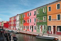 Colorful houses on the island of BURANO near Venice Stock Photography