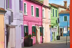 Colorful houses on the island of BURANO near Venice in Italy Stock Image