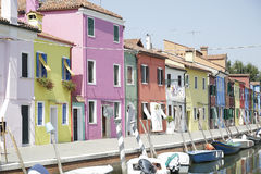 Colorful houses at the island of Burano, Venice, Italy Stock Photos