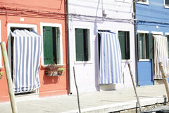 Colorful houses  at the island of Burano, Venice, Italy Royalty Free Stock Images