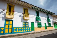 Colorful houses in Jardin, Antoquia, Colombia royalty free stock image