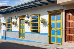 Colorful houses in Jardin, Antoquia, Colombia. Colorful houses in colonial city Jardin, Antoquia, Colombia, South America Stock Image